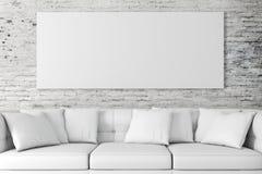 inre aktivering 3d med soffan och mellanrumsaffischen stock illustrationer
