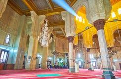 Inre av Abu al-Abbas al-Mursi Mosque i Alexandria, Egypten Royaltyfri Fotografi