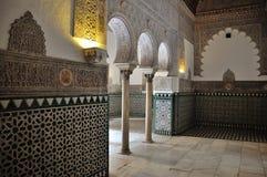 Inre av alcazaren av Seville Arkivfoto