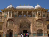 Inre av Amber Fort India arkivfoto