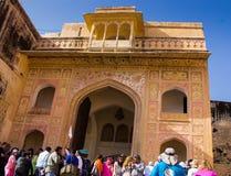 Inre av Amber Fort India royaltyfri bild