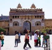 Inre av Amber Fort India arkivbilder