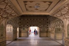 Inre av Amber Fort India royaltyfria foton