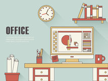 Inre av arbetsplatsbegreppet royaltyfri illustrationer