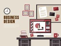 Inre av arbetsplatsen i plan design vektor illustrationer