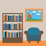 Inre av arkivrum Ställe för att läsa Rum med bokhyllan, stock illustrationer