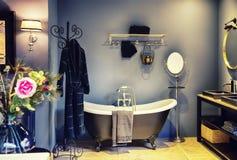 Inre av badrum med garnering royaltyfri bild