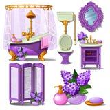 Inre av badrummet i lilor färgar isolerat på vit bakgrund Illustration för vektortecknad filmnärbild vektor illustrationer