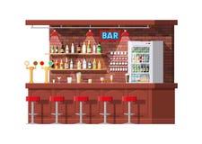 Inre av baren, kafét eller stångräknaren stock illustrationer
