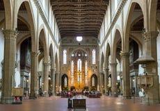 Inre av basilikan av Santa Croce i Florence, Italien Royaltyfria Foton