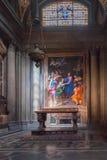 Inre av basilikan Santa Maria Novella i Florence Arkivfoton