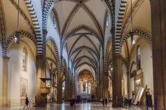 Inre av basilikan av Santa Maria Novella i Florence, Italien Fotografering för Bildbyråer