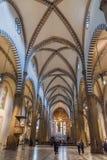 Inre av basilikan av Santa Maria Novella i Florence, Italien Arkivfoton