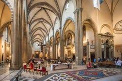 Inre av basilikan av Santa Maria Novella i Florence, Italien Royaltyfri Fotografi