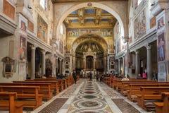 Inre av basilikan av Santa Prassede, Rome, Italien royaltyfri fotografi