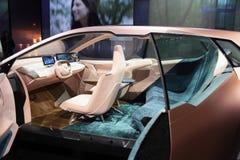 Inre av bilen för BMW iNextbegrepp på CES 2019 royaltyfri foto