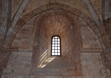 Inre av Castel del Monte, Apulia, Italien Royaltyfria Foton