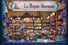 Inre av choklad shoppar Arkivbild