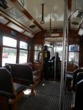 Inre av den antika Lissabon spårvagnen Royaltyfri Fotografi