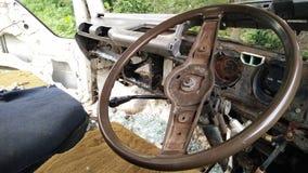 Inre av den brutna bilen för forgotton Arkivfoto