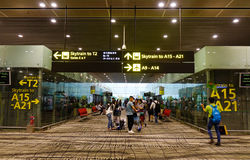 Inre av den Changi flygplatsen i Singapore Royaltyfria Bilder