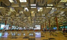 Inre av den Changi flygplatsen i Singapore Arkivbilder