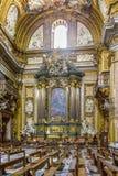 Inre av den Chiesa del Gesu `-kyrkan av Jesus `, den viktigaste jesuitkyrkan i Rome, Italien arkivfoton