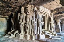 Inre av den Dhumar Lena templet på Ellora Caves, Indien Royaltyfria Foton