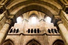 Inre av den gotiska domkyrkan av St Lorenz, Nuremberg, Tyskland royaltyfri foto