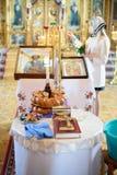 Inre av den härliga ortodoxa kyrkan Arkivfoton
