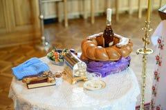 Inre av den härliga ortodoxa kyrkan Arkivfoto