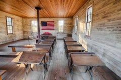 Inre av den historiska en-rum skolan i Dothan, Alabama Royaltyfria Bilder