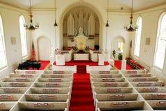 Inre av den kongregationalistiska kyrkan för klassisk Greenfieldkulle, Connecticut Fotografering för Bildbyråer