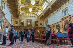 Inre av den kungliga slotten i medeltida Windsor Castle UK Fotografering för Bildbyråer