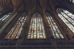 Inre av den Lichfield domkyrkan - dam Chapel Stained Glass eller royaltyfri foto