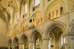 Inre av den Malmesbury abbotskloster, Wiltshire Arkivfoto