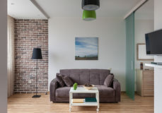 Inre av den moderna lägenheten i scandinavian stil Royaltyfri Bild