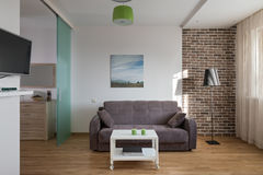Inre av den moderna lägenheten i scandinavian stil Royaltyfria Bilder