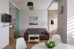 Inre av den moderna lägenheten i scandinavian stil Fotografering för Bildbyråer