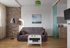 Inre av den moderna lägenheten i scandinavian stil Royaltyfria Foton