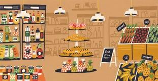 Inre av den moderna livsmedelsbutiken med produkter som ligger på hyllor och prislappar Sortiment av mat på supermarket vektor illustrationer