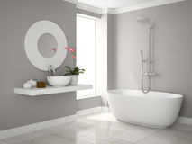 Inre av den moderna tolkningen för badrum 3D Arkivbild