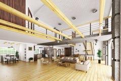 Inre av den moderna tolkningen för hus 3d Royaltyfria Foton