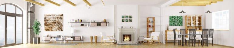 Inre av den moderna tolkningen för lägenhet 3d stock illustrationer