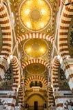 Inre av den Notre-Dame de laGarde basilikan i Marseille, Frankrike Arkivbilder