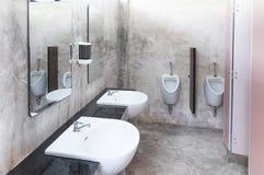 Inre av den offentliga rena toaletten i en delad toalett där är det breda valet av vaskar med speglar Royaltyfri Bild