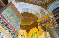Inre av den Qalawun mausoleet Arkivfoto