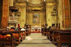 Inre av den Sant `-Eustachio katolska kyrkan i Rome, Italien Fotografering för Bildbyråer