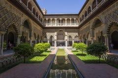 Inre av den Seville alcazaren, Seville, Andalusia, Spanien Arkivbild