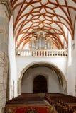 Inre av den stärkte kyrkliga Prejmeren i den Prejmer staden i Rumänien Fotografering för Bildbyråer